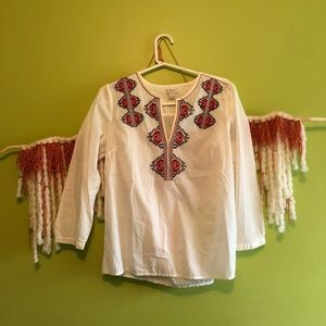 j. crew cream & red embroidered top